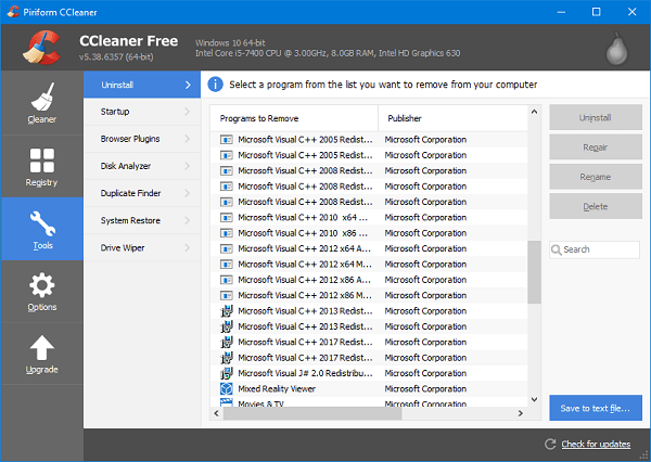 Gỡ bỏ phần mềm không có trong Control Panel Win 10 qua phần mềm của bên thứ ba