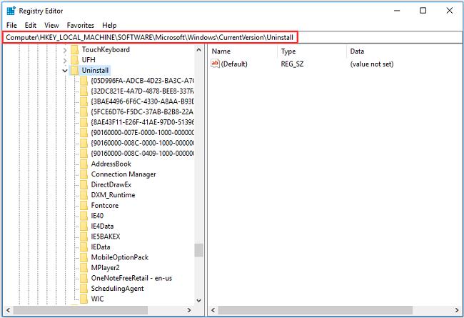 Gỡ bỏ phần mềm không có trong Control Panel Win 10 trong Registry Editor
