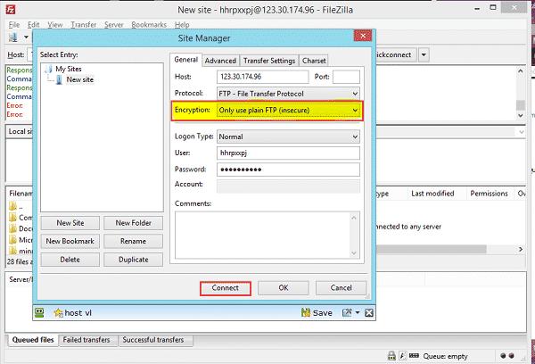 Khắc phục lỗi Failed to retrieve directory listing 1