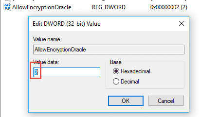 Khắc phục lỗi this could be due to credssp encryption oracle remediation 2