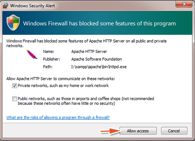 khởi động lại máy tính, chạy bảng điều khiển XAMPP và chọn allow access (sửa lỗi không start được MySQL trong XAMPP)