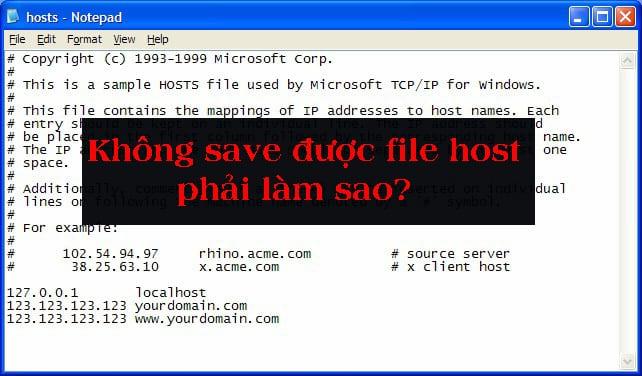 Không save được File Host phải làm thế nào?