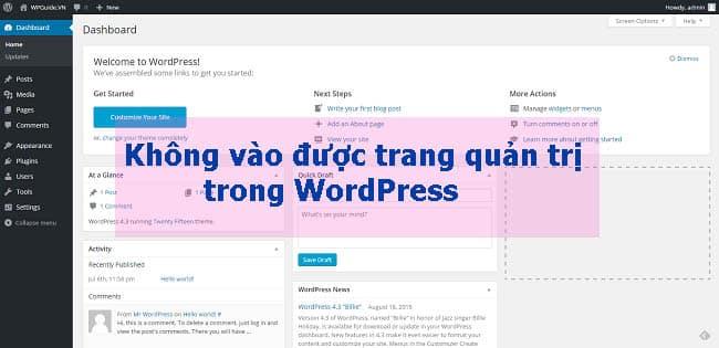 Không vào được trang quản trị WordPress phải làm thế nào?