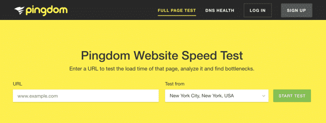 Kiểm tra tốc độ hosting với Pingdom Website Speed Test