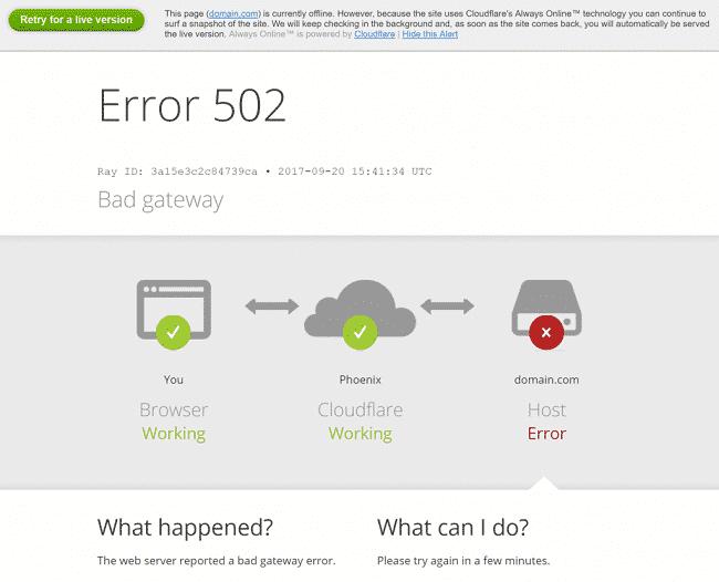 Lỗi 502 bad gateway CloudFlare loại 1