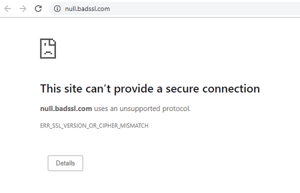 Khắc phục lỗi ERR_SSL_VERSION_OR_CIPHER_MISMATCH
