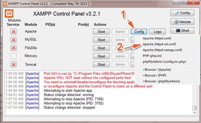 Mở bảng điều khiển XAMPP, chọn Config, sau đó chọn chuột trái vào Apache (sửa lỗi không start được MySQL trong XAMPP)