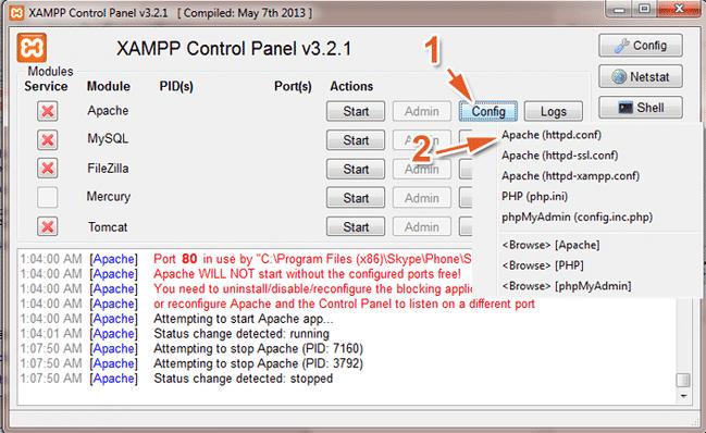 Mở bảng điều khiển XAMPP, chọn vào Config, chọn tiếp Apache(httpd.conf)