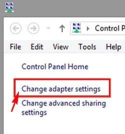 Nhấp chuột vào Change Adapter settings