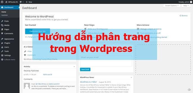 Hướng dẫn phân trang trong WordPress