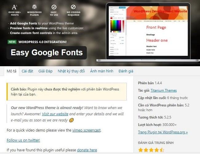 Plugin font chữ cho wordpress tốt nhất Easy Google Fonts