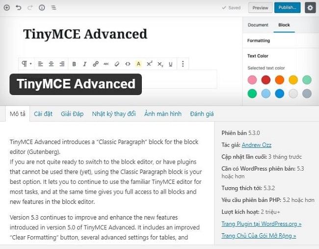 TinyMCE Advanced giúp điều chỉnh kích thước phông chữ và họ phông chữ