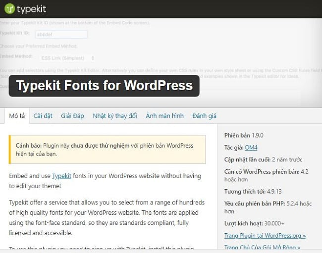 Plugin font cho wordpress Typekit Fonts cho WordPress