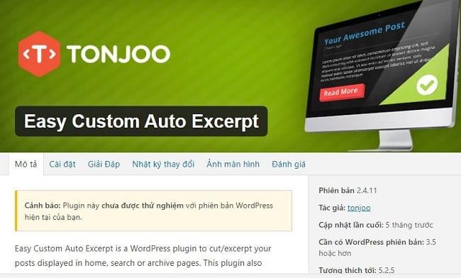 Plugin thu gọn bài viết trong wordpress với Easy Custom Auto Excerpt