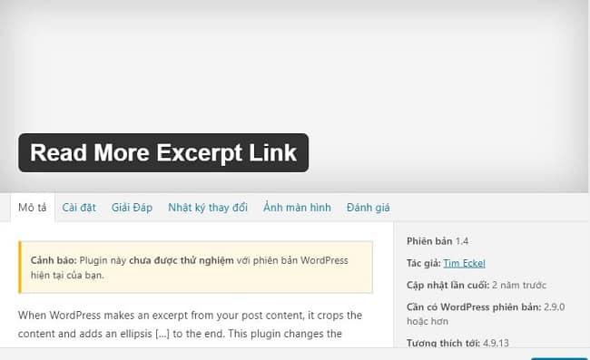 Plugin thu gọn bài viết trong wordpress với Read More Excerpt Link