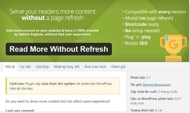 Plugin thu gọn bài viết trong wordpress với Read More Without Refresh