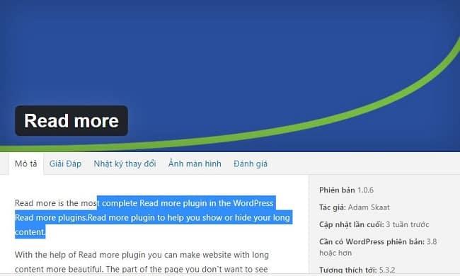 Plugin thu gọn bài viết trong wordpress với Read More