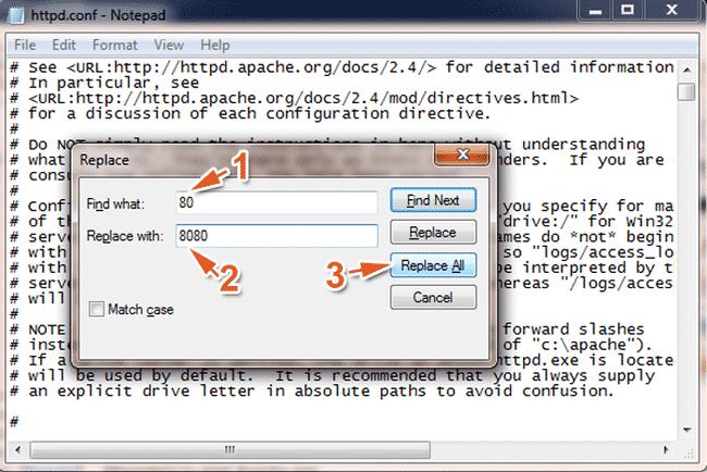 Sau khi mở tệp tin httpd.conf bằng Notepad, bấm tổ hợp phím Ctrl + H để hiển thị cửa sổ thay thế (sửa lỗi không start được MySQL trong XAMPP)