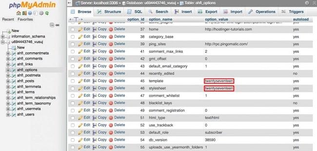 Sửa lỗi trang trắng WordPress bằng cách đổi WordPress Theme trong phpmyadmin