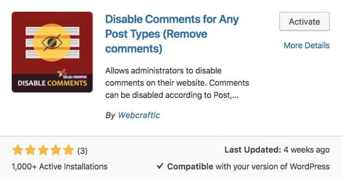 Tắt bình luận trong wordpress với plugin với Disable Comments For Any Post Types