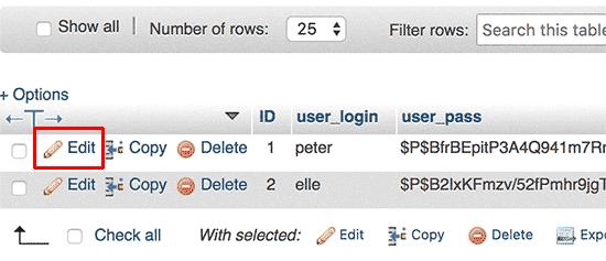 Thay đổi mật khẩu wordpress từ database 3