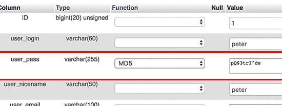 Thay đổi mật khẩu wordpress từ database 4