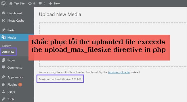 Khắc phục lỗi the uploaded file exceeds the upload_max_filesize directive in php.ini