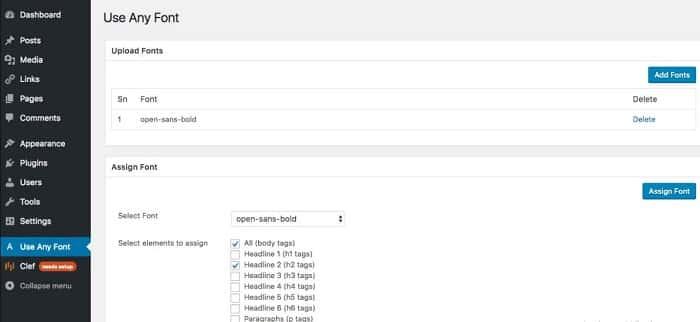 Plugin Use Any Font giúp thêm font vào wordpress
