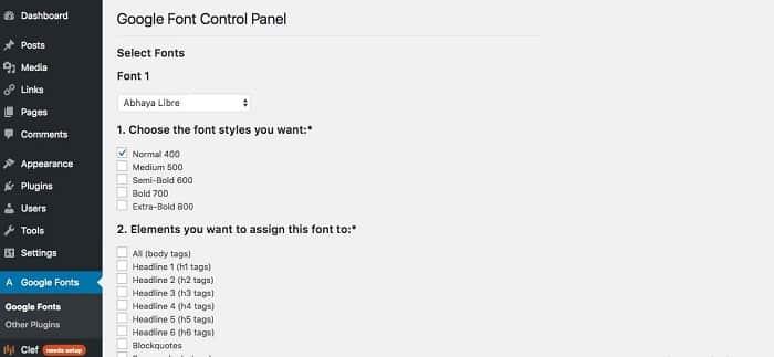 Thêm font chữ vào WordPress bằng Plugin WP Google Font 1