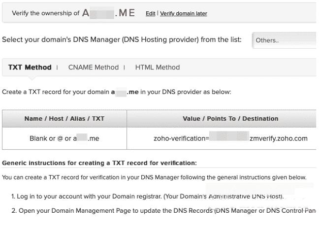 Thêm và xác minh để tạo Email tên miền miễn phí với Zoho Mail