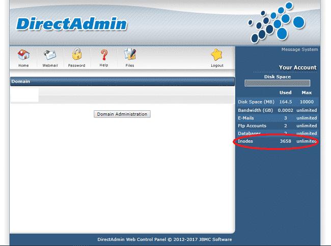 Trên hosting sử dụng Control panel Direct Admin