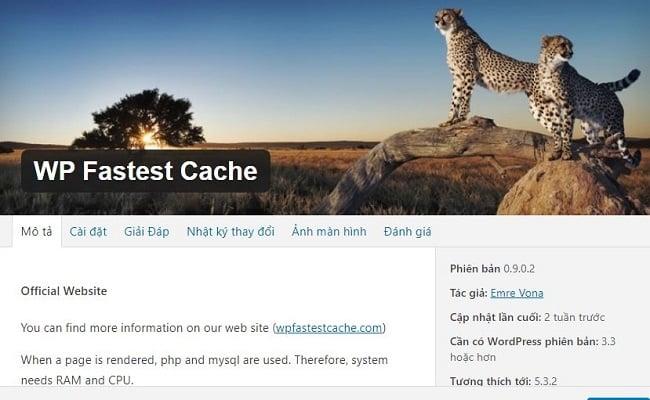 Xóa Cache WordPress trên WP Fastest Cache