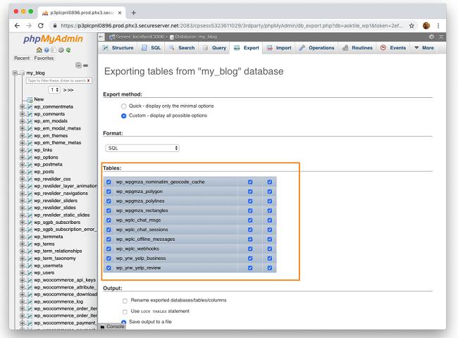 Backup database MySql bằng phpMyAdmin 4