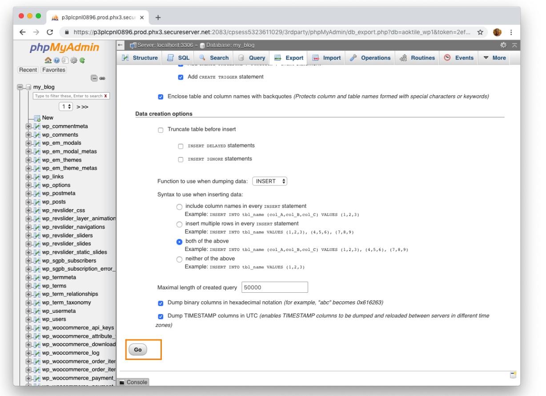 Backup database MySql bằng phpMyAdmin 6