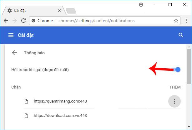 Chặn thông báo từ trang web trên trình duyệt Chrome