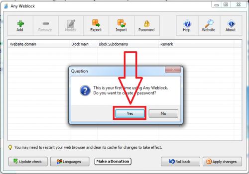 Chọn Yes và cài đặt mật khẩu