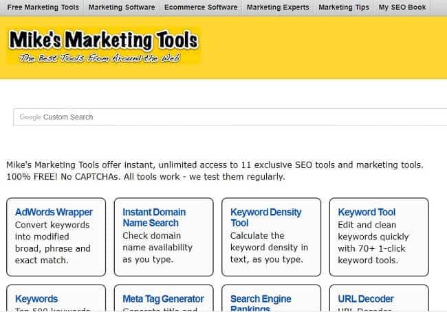 Mike's Marketing Tools sở hữu 2 công cụ mà những nhà quản trị website nên thường xuyên sử dụng