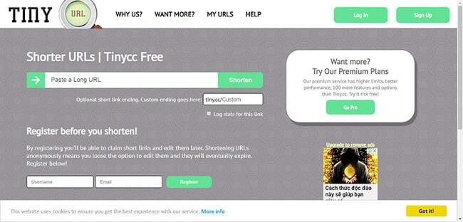 Giao diện của website rút gọn link tiny.cc