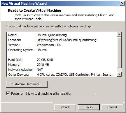 Hướng dẫn cài đặt Ubuntu trên VMware 1