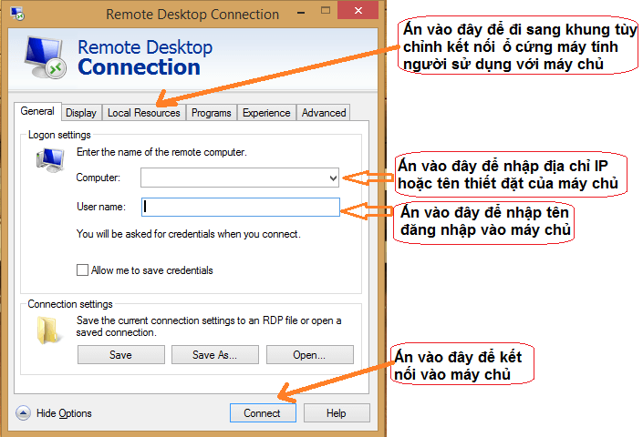Cách sử dụng remote desktop connection trên Window 7/ Vista 3
