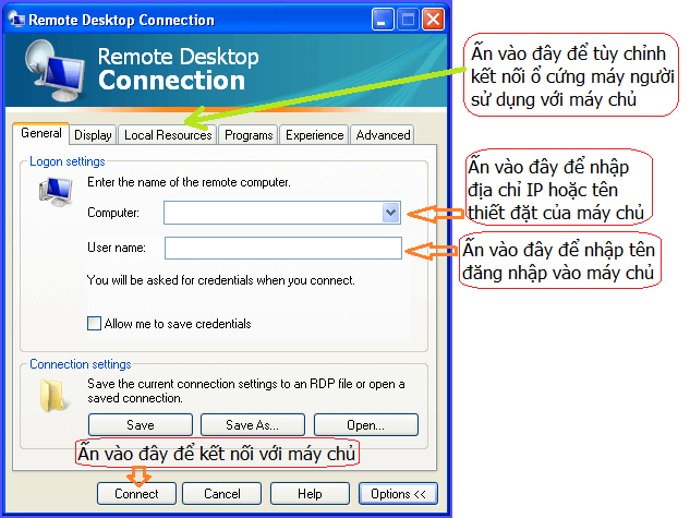 Cách sử dụng remote desktop connection trên Window XP 4