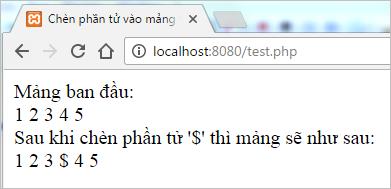 Kết quả sau khi thêm phần tử vào mảng php