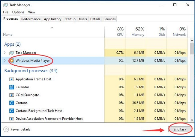 Kết thúc WMP trong Task Manager