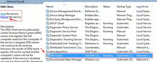 Khởi động lại Server DNS Client