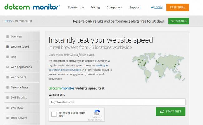 Kiểm tra tốc độ website bằng công cụ Dotcom Monitor