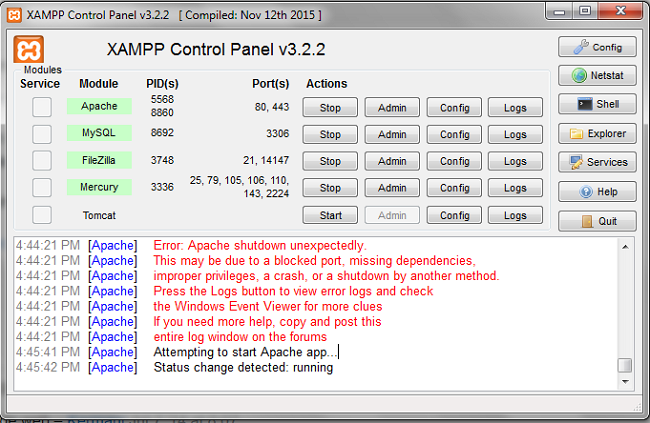 Lỗi do chưa chạy Chương trình XAMPP trên quyền Administrator