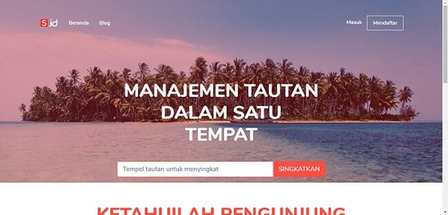 Giao diện của website rút gọn link S.id