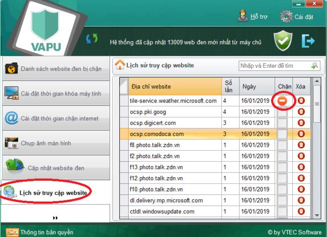 sử dụng phần mềm chặn web VAPU bước 10