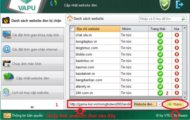 sử dụng phần mềm chặn web VAPU bước 5
