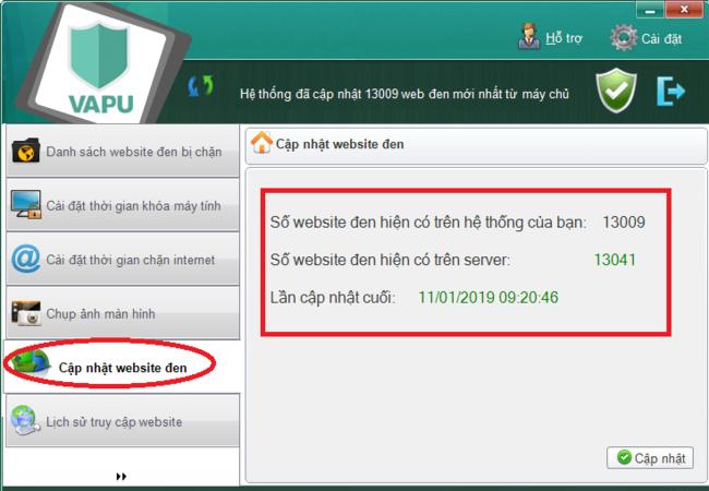 sử dụng phần mềm chặn web VAPU bước 9